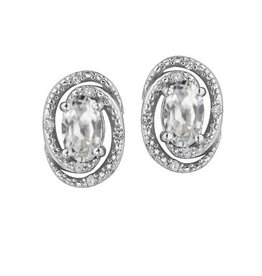 Birthstone Diamond Earrings Sterling Silver White Topaz April