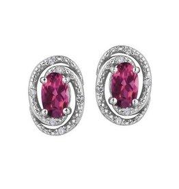 Birthstone Diamond Earrings Sterling Silver Pink Topaz June