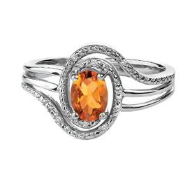 Birthstone Diamond Ring Sterling Silver Citrine November