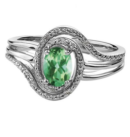 Birthstone Diamond Ring Sterling Silver Emerald May