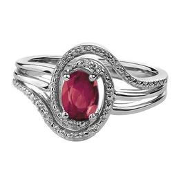 Birthstone Diamond Ring Sterling Silver Ruby July