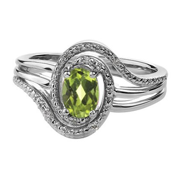 Birthstone Diamond Ring Sterling Silver Peridot August