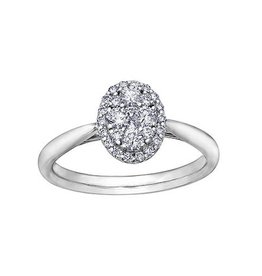 14K White Gold (0.50ct) Oval Shaped Clustered Diamond Engagement Ring