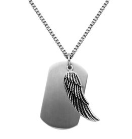 Steelx Steelx Stainless Steel Dog Tag with Feather Pendant