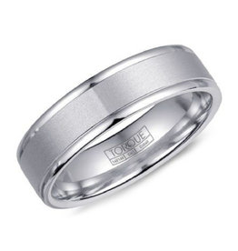 White Cobalt 6mm Sandpaper Finish Mens Wedding Band