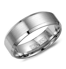Torque 8mm White Cobalt Sports Brushed Centre Mens Ring