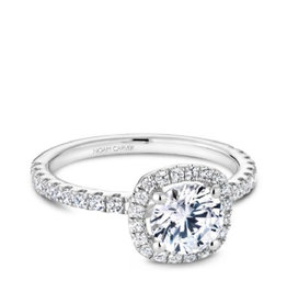 Noam Carver Noam Carver White Gold Halo Diamond Mount Ring