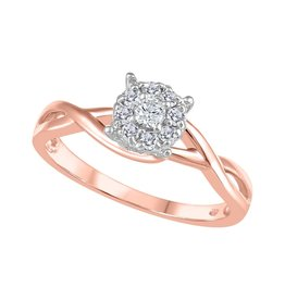 Canadian Diamond (0.22ct) Cluster Infinity Shank Ring Rose, Yellow Gold