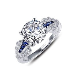 Lafonn Lafonn Sterling Silver Platinum Plated Simulated Diamonds Lab Grown Sapphires Vintage Inspired Engagement Ring
