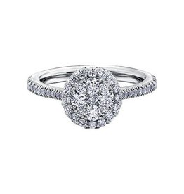 14K White Gold (0.76ct) Halo Cluster Diamond Engagement Ring