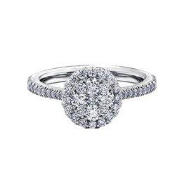14K White Gold (1.00ct) Halo Cluster Diamond Engagement Ring