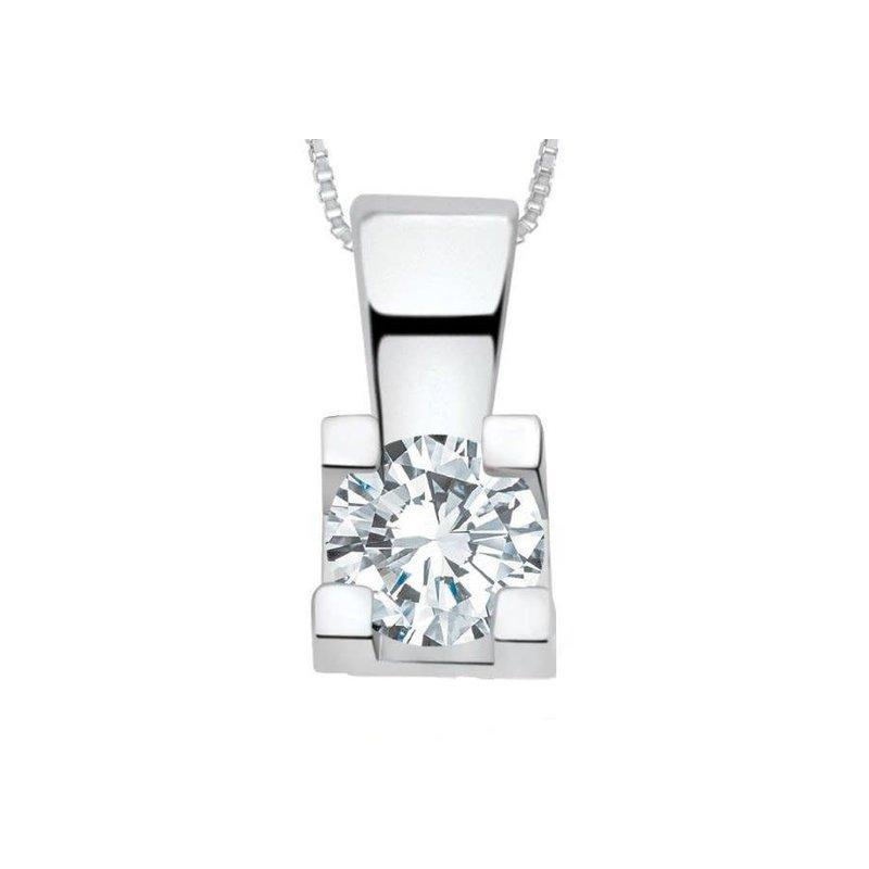 White Gold (0.17ct) Diamond Solitaire Pendant