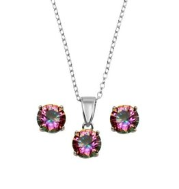 Sterling Silver Mystic Topaz CZ Necklace and Earring Set Rhodium Plated