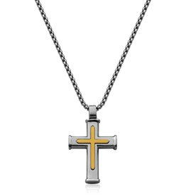 Steelx Mens Ion Gold Plated Stainless Steel Cross Necklace