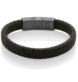 Steelx Mens Adjustable Dark Blue and Light Brown Weaved Leather Bracelet