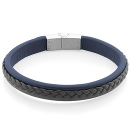 Steelx Mens Adjustable Black and Blue Leather Bracelet