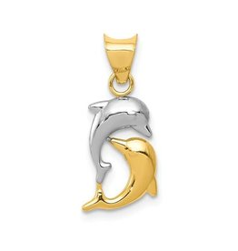 14K Yellow Gold and Rhodium Polished Dolphin Pendant