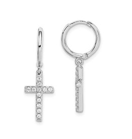 Sterling Silver CZ Dangle Cross Hinged Hoop Earrings