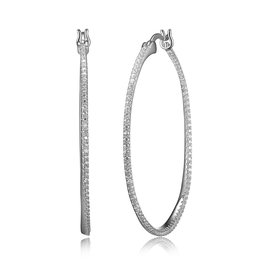 Reign Reign Sterling Silver CZ Pavee Oval Hoop Earrings