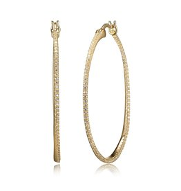 Reign Reign Sterling Silver Gold Plated CZ Pavee Oval Hoop Earrings