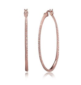 Reign Reign Sterling Silver Rose Plated CZ Pavee Large Hoop Earrings