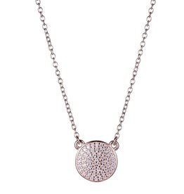 Reign Reign Sterling Silver Rose Gold Plated CZ Pavee Necklace