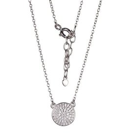Reign Reign Sterling Silver Rhodium Plated CZ Pavee Necklace
