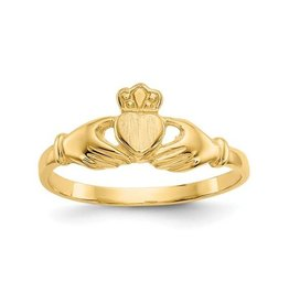 14K Yellow Gold Polished and Satin Finished Ladies Claddagh Ring