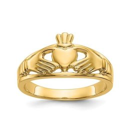 14K Yellow Gold Polished Ladies Claddagh Ring