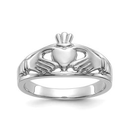 14K White Gold Polished Ladies Claddagh Ring
