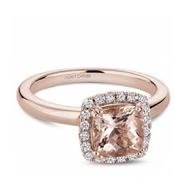 Noam Carver Rose Gold Morganite and Diamond Halo Engagement Ring