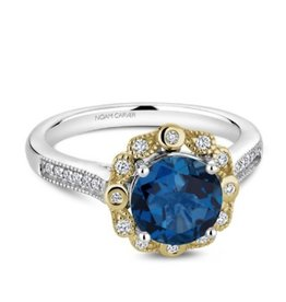 Noam Carver Noam Carver White and Yellow Gold Blue Topaz Diamond Ring