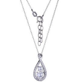 Reign Reign Adjustable Sterling Silver Double CZ Infinity Necklace