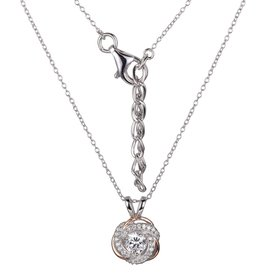 Reign Reign Adjustable White and Rose Rhodium Plated Halo CZ Necklace