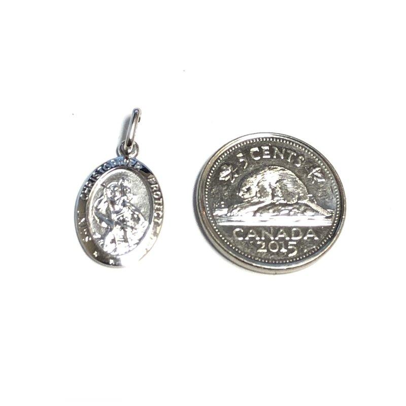 10K White Gold (Medium) St. Christopher Medallion Pendant