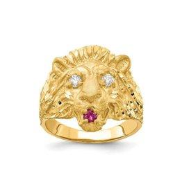 10K Yellow Gold Mens Lion Head CZ Ring (Medium)