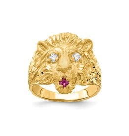 Yellow Gold Mens (Medium) Lion Head Red and White CZ Ring