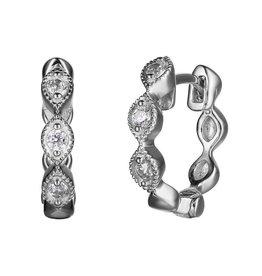 Reign Reign Sterling Silver CZ Vintage Hoop Earrings