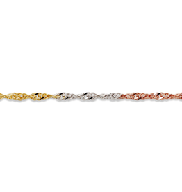 """Yellow, White and Rose Gold (2.25mm) Singapore Bracelet 7.5"""""""