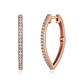 Reign Reign Silver Rose Gold Plated CZ Hoop Earrings