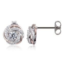 Reign Reign Sterling Silver White and Rose CZ Halo Earring Studs