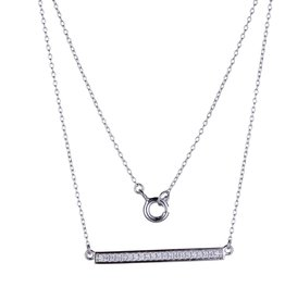 Reign Reign Sterling Silver CZ Sideways Bar Necklace