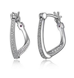 Elle Elle Sintillation Sterling Silver Twist CZ Hoop Earrings