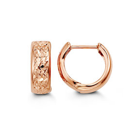 Rose Gold Diamond Cut Huggie Earrings