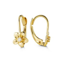 10K Yellow Gold CZ Flower Leverback Baby Earrings