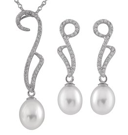 Silver Rhodium Plated CZ Pearl Dangle Earrings