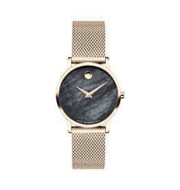 Movado Movado Museum Classic Ladies Rose Tone Watch with Black Mother of Pearl Dial.