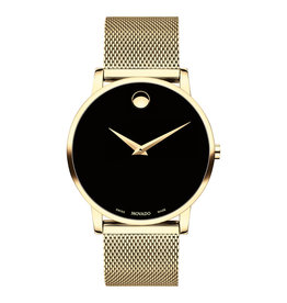 Movado Movado Museum Classic Mens Gold Tone Watch with Black Dial.