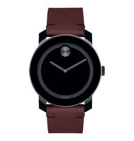 Movado Movado BOLD Mens Dark Red Leather Watch with Black Dial.