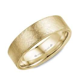 Yellow Gold (7mm) Diamond Brushed Top Mens Wedding Band